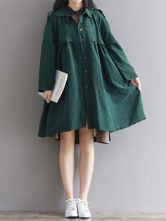 Vintage Turn-Down Solid Green Long Sleeve Loose Women Coat Simple Dresses, Cute Dresses, Casual Dresses, Modest Fashion, Fashion Dresses, Fashion Coat, Moda Outfits, Coats For Women, Clothes For Women