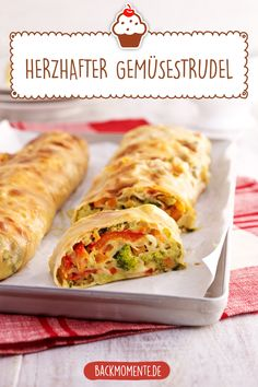 Make hearty vegetable strudel yourself with this delicious vegetable strudel recipe. Make hearty vegetable strudel yourself with this delicious vegetable strudel recipe. Vegetable Strudel Recipe, Strudel Recipes, Breakfast Party, Cooks Slow Cooker, Healthy Comfort Food, Vegan Appetizers, Vegan Pumpkin, Vegan Dinners, Grilling Recipes