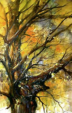 """Old Tree in Lone Grove"" by Robert Krajecki.  How naturally he depicted the tangle of branches and the beautiful colors of autumn.!"