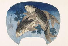 9 Key Terms You Should Know Before Seeing The Massive Hokusai Exhibition Deux carpes Koi Ère Tempō, an II (1831) Estampe nishiki-e, format uchiwa-e 23,2 × 28,7 cm