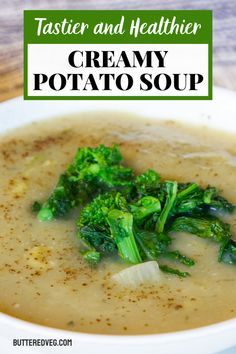Creamy Vegan potato soup made tastier and healthier with added zucchini, celery, leafy greens topping, and medicinal herbs and spices.