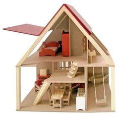 Casa Chalé com Moveis em Madeira Natural - Bambalalão Brinquedos Educativos http://www.bambalalaobrinquedos.com.br/produto/casa-chale-com-moveis-em-madeira-natural.html