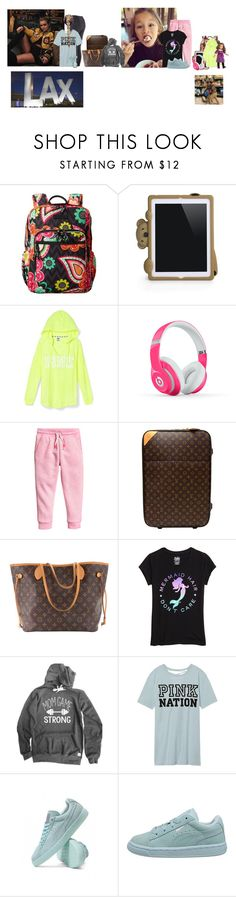"""""""Monday (night) // Flight to Georgia"""" by those-families ❤ liked on Polyvore featuring Vera Bradley, Moschino, Beats by Dr. Dre, Louis Vuitton, Victoria's Secret, Puma and quickfamily"""