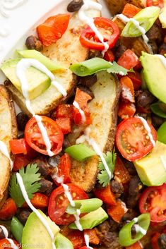 Black Bean and Baked Potato Nacho Plate - Have this luscious meal anytime – for busy weekday dinners or lazy, lingering, warm weekend lunch. A healthy, gluten free, dairy free, vegan and vegetarian meal for all times. And after, why not treat yourself and your family with one of healthy desserts from http://deals.foodsniffr.com/healthy-gourmet-food/desserts.html? #SWKidFriendly