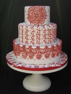 Henna Wedding Cake, Henna Cake, Wedding Cakes, Beautiful Cakes, Amazing Cakes, Royal Icing Piping, Red Henna, 13 Birthday Cake, Cake Board