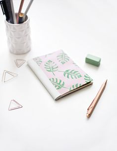 We Make Collective Launch Day Four   DIY Tropical Leather Spine Notebooks