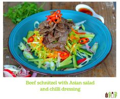 Beef schnitzel with Asian salad and chilli dressing Beef Schnitzel, Beef Dishes, Dressing, Salad, Meals, Dinner, Ethnic Recipes, Food, Dining