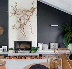 I really like the idea of a fireplace sitting on a concrete plinth like this and the walls painted in Domino colour. Taken from Home Beautiful October Concrete Fireplace, Fireplace Wall, Reno, Beach Houses, Fireplaces, October, New Homes, Walls, River