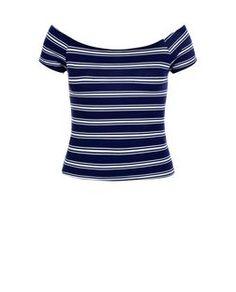 Top ado bleu rayé à manches courtes et encolure bateau | New Look