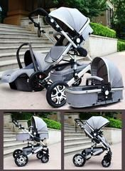 Baby Stroller 3 in 1 with Car Seafty Seat,Baby Carriage Prams European Strollers - Gray