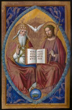 Jean Bourdichon  - The Holy Trinity  -  from The Great Hours of Anne of Brittany. c.1503-1508