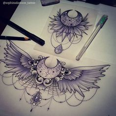 Sternum tat idea?... But w/o spiderweb part & a thinner moon #beautytatoos