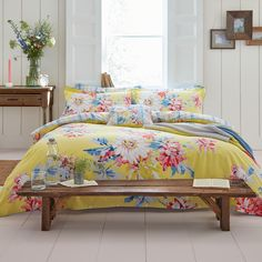 Discover the Joules Whitstable Floral Duvet Cover - Yellow - Double at Amara Yellow Bedding, Floral Bedding, Bright Bedding, Double Duvet Covers, Single Duvet Cover, Duvet Bedding, Comforter Sets, Luxury Bedding Sets, Cool Beds