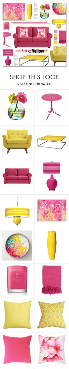 """Pink & Yellow Living Room"" by anyasdesigns ❤ liked on Polyvore featuring interior, interiors, interior design, home, home decor, interior decorating, Kitras Art Glass, Fermob, Coalesse and Pottery Barn"