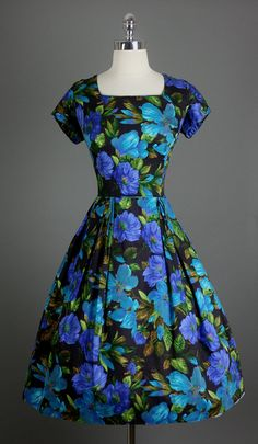 So vivid! \\ Vintage 1950s 50s XL Plus Elegant Dress Cover Girl of Miami by RedHouseVintages, $180.00