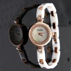 Banda tono FW917A de oro rosa blanco redondo Dial señoras de las mujeres de cerámica de reloj pulsera