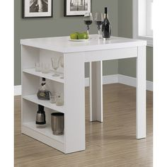 Monarch Specialties White Three-Shelf Dining Table ($150) ❤ liked on Polyvore featuring home, furniture, tables, dining tables, white shelving, white table, 3 tier shelves, three tier shelf and white shelf