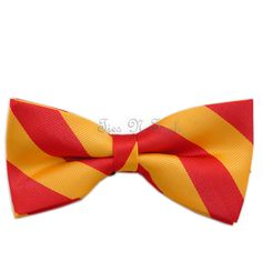 Red & Golden Yellow Striped Silk Bow Tie