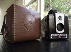 Mid Century Kodak Brownie Hawkeye Camera & Kodak Branded Leather Field Case by JuniperHome Old Cameras, Vintage Cameras, Brownie Hawkeye Camera, Box Camera, Movie Camera, Take That, Things To Come, Mid Century, Cosmetics