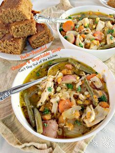 Herb Roasted Chicken and Vegetable Soup   Can't Stay Out of the Kitchen   wonderful #soup chocked full of #chicken, #veggies and seasoned with garlic, rosemary and parsley. #glutenfree