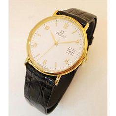 Nice Zenith biz3060846616Men Quartz Watch (Rechargeable) Gold quandrante White Leather Strap just added...