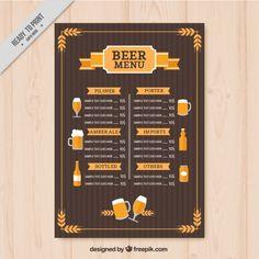 bières Vintage Menu modèle Vecteur gratuit