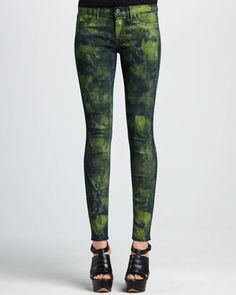 Legacy Green Graz Monet Dyed Legging Jeans by Rich and Skinny at Neiman Marcus.