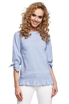 Call off the search with our Blue Striped Blouse Catches An Eye With Its Frill Hem At The Bottom And Tied Short Sleeves. Shop unique fashion at SilkFred Sports Skirts, Tie Shorts, Blouse Models, Swim Dress, S Models, Unique Fashion, Blouses For Women, Shirts, Tops