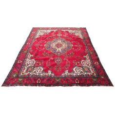 Handmade Persian Tabriz Area Rug - 9′3″ × 12′11″ (1,585 CAD) ❤ liked on Polyvore featuring home, rugs, handmade wool rugs, handmade wool area rugs, wool rugs, wool area rugs and hand made rugs