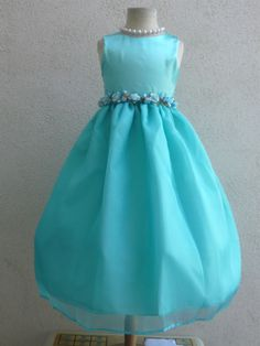 803 NEW CHRISTMAS EASTER PARTY AQUA POOL BLUE FLOWER GIRL DRESS  2  4 6  8 10 12 #Dress