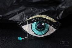 """Bead Weaving """"Blue Eye"""" Brooch Pin Jewelry @petrivjewelry"""