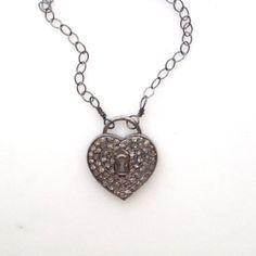 pavé diamond and oxidized sterling heart lock charm by KKSparkles