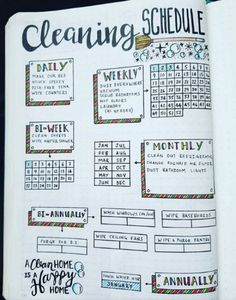 Are you searching for bullet journal ideas to keep your house clean & organized? Here are 15 bullet journal layout ideas to use as inspiration for your spring cleaning schedule. Bullet journal inspiration isn't exactly difficult to come by but there are s Bullet Journal Cleaning Schedule, Bullet Journal Planner, Bullet Journal Page, Bullet Journal Inspo, Bullet Journals, Monthly Bullet Journal Layout, Bullet Journal Timetable, Bullet Journal Daily Spread, Journal List