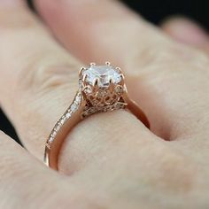 This engagement ring is so unique and in rose gold - it's so pretty!