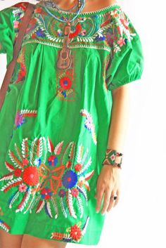 Mexican dress. You could also wear it over leggings with boots in the Fall. Or legging and flats or over jeans. Love this top/dress. Biddy Craft