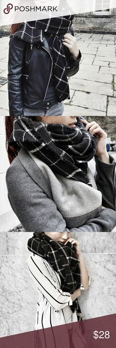 Gorgeous black with white grid winter scarf Brand new black scarf with white grid. 100% acrylic fiber. Must have!! Approximately 80 x 34 inches Accessories Scarves & Wraps
