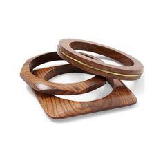 Venus Wooden Bangle Set (€17) ❤ liked on Polyvore featuring jewelry, bracelets, wooden bangles, wooden jewelry, wood bangle et wood jewelry
