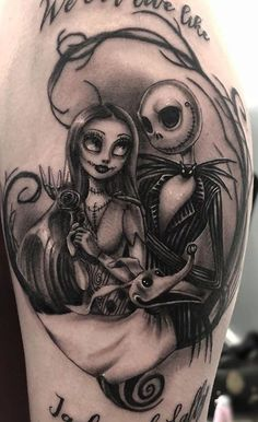 Unique Jack and Sally Tattoos (The Nightmare Before Christmas) - Tattoo Me Now Badass Tattoos, Body Art Tattoos, Leg Tattoos, Skull Tattoos, Tatoos, Disney Tattoos, Jack Et Sally, Arte Tim Burton, Gotik Tattoo