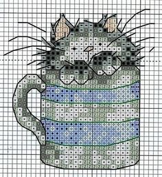 Вышивание крестиком, схемы котиков