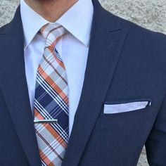Navy, orange and white always look good together.  Mens Fashion | #MichaelLouis - www.MichaelLouis.com