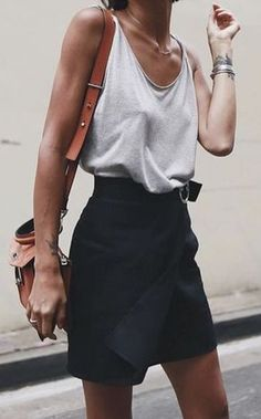 #summer #outfits Grey Tank + Black Wrap Skirt