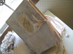Boite livre a l'ancienne....book box with satin stitched monogram and vintage scrim....