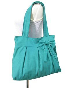 On Sale 20% off Turquoise green cotton canvas purse with bow /