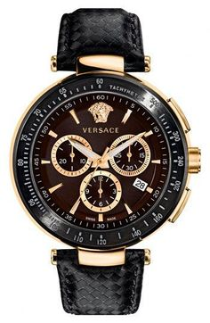 Versace's rich 'Mystique Chrono' Guilloche Dial Watch #timepiece #mens #watches