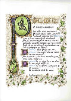 Illuminated Calligraphy Artist Print - Psalm 121 in Romanian (2011).  via Etsy.