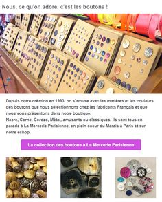 La Mercerie Parisienne vous offre un large choix de boutons pour tout vos projets couture et tricot. Vous ne pensiez pas être quelqu'un de manuel? Nos jolis boutons risque bien de vous faire changer d'avis!   #coutureaddict #sewinglover #couture #button #cuteasabutton #lamercerieparisienne #bouton #projetcouture #parislemarais