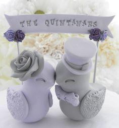 Hochzeitstorte Topper Liebe Vögel Lavendel und grau von LavaGifts