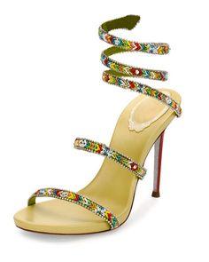 X3C4Q Rene Caovilla Beaded Snake 105mm Sandal, Green/Multi