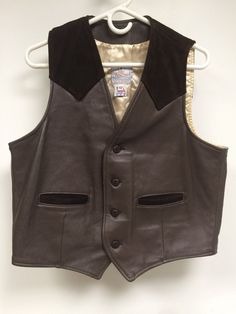 VTG Deerskin Leather Vest Mid Western Sport Togs Size 42 Made In USA…