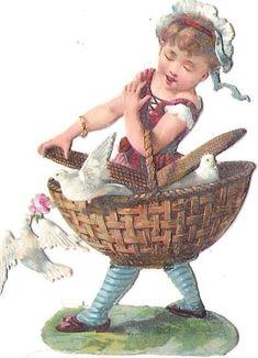 Oblaten Glanzbild scrap die cut chromo Kind child Taube dove pigeon Korb basket